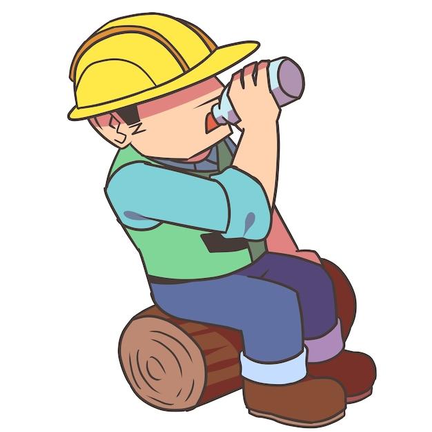 Trabajador de la construcción bebiendo   Descargar Vectores Premium