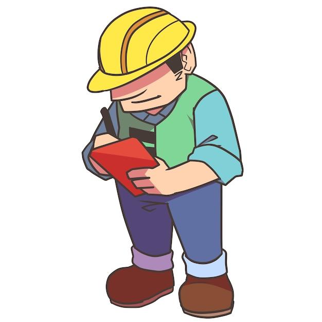 Trabajador de la construcción escribiendo cosas   Descargar Vectores ...