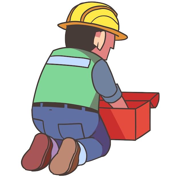 Trabajador de la construcción obteniendo cosas   Descargar Vectores ...