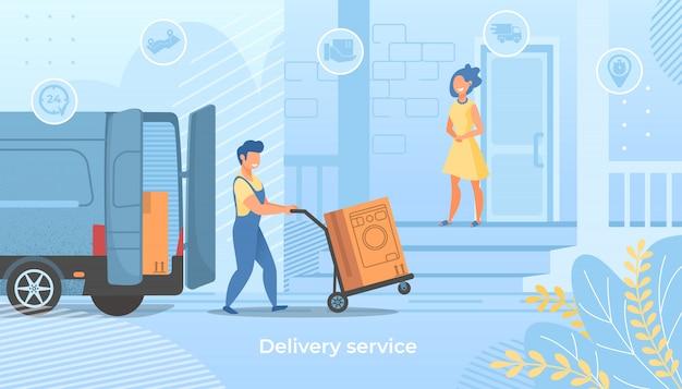 Trabajador de entrega empuje el carrito con lavadora Vector Premium