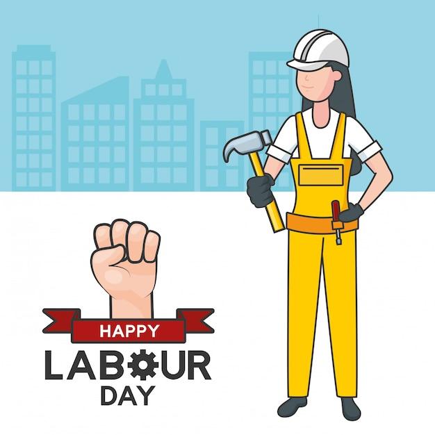 Trabajador con un martillo, edificios, ilustración vector gratuito