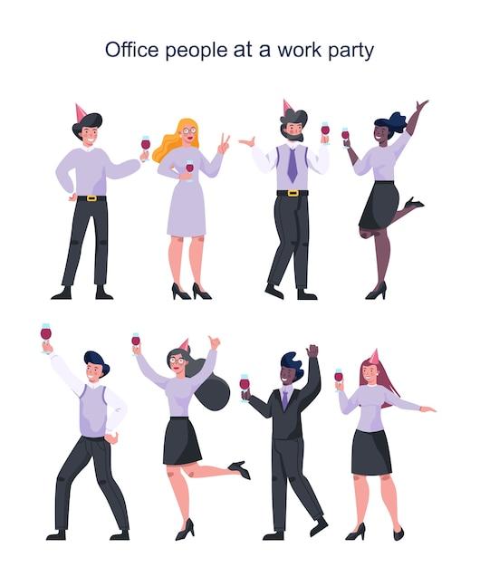 Trabajador de oficina en la fiesta de trabajo. colección de empresarios con sombrero de fiesta bailando con un vaso de alcohol. empleado divirtiéndose en el lugar de trabajo. Vector Premium