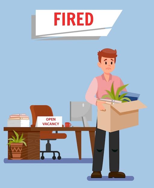 Trabajador de oficina got fired ilustración vectorial plana | Vector Premium