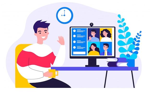 Trabajador usando computadora Vector Premium