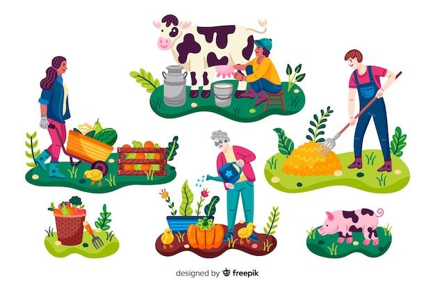 Trabajadores agrícolas con animales y verduras. vector gratuito