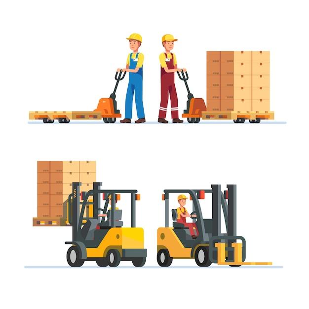 Trabajadores de almacén trabajando con montacargas vector gratuito