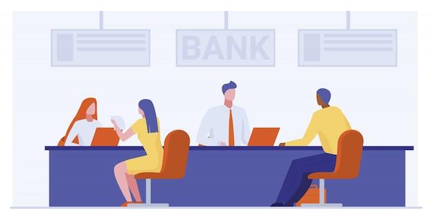 Trabajadores bancarios que prestan servicios a clientes. vector gratuito