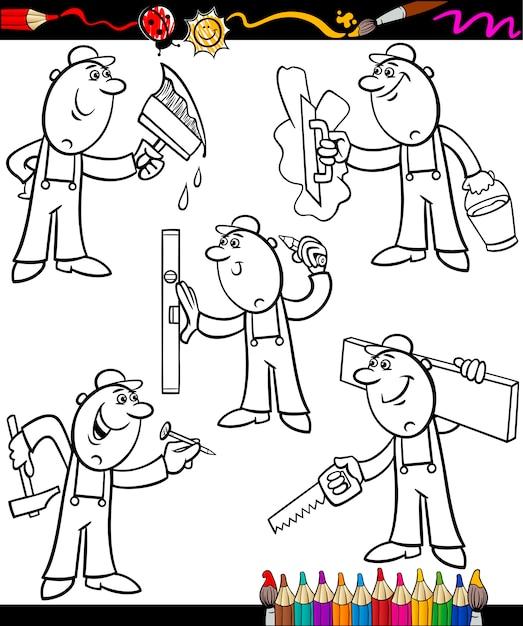 Trabajadores de dibujos animados para colorear libro | Descargar ...