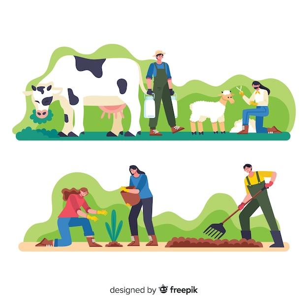 Trabajadores de dibujos animados en la granja haciendo actividades vector gratuito