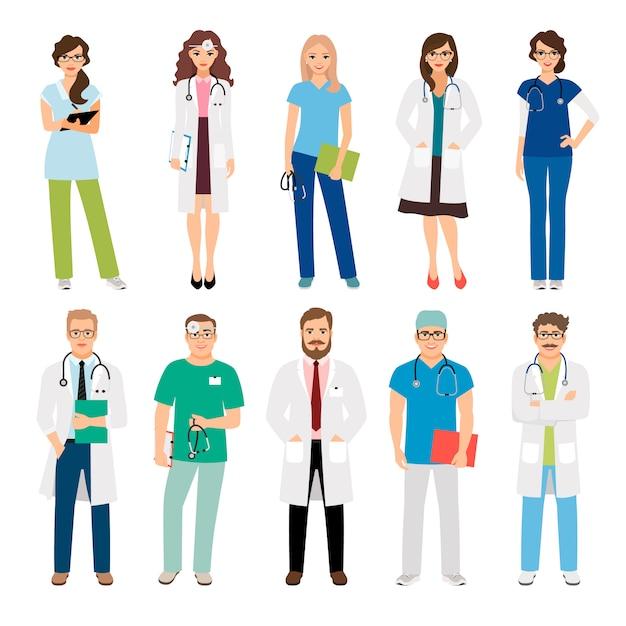 Trabajadores del equipo médico de salud aislados. sonriendo doctores y enfermeras en uniforme para proyectos de salud. ilustración vectorial | Vector Premium