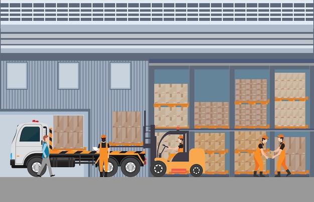 Trabajadores hombre cargando el camión con paletas de bienes Vector Premium