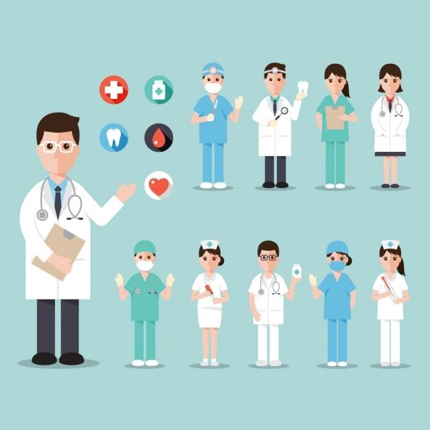 Trabajadores de un hospital vector gratuito