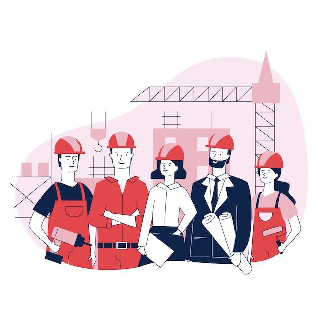 Trabajadores de ingeniería y construcción parados juntos vector gratuito