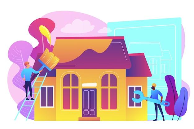 Trabajadores con pincel y llave mejorando la casa. renovación de la casa, renovación de la propiedad, remodelación de la casa y concepto de servicios de construcción. ilustración aislada violeta vibrante brillante vector gratuito