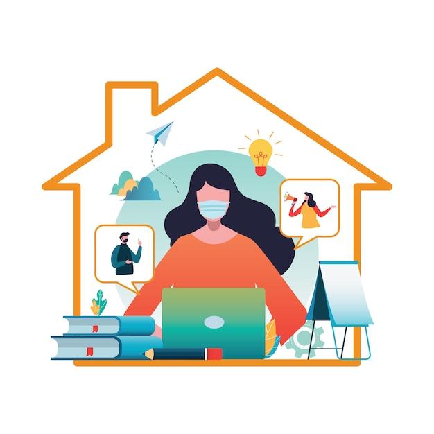 Trabajando desde casa. covid-19. coronavirus | Vector Premium