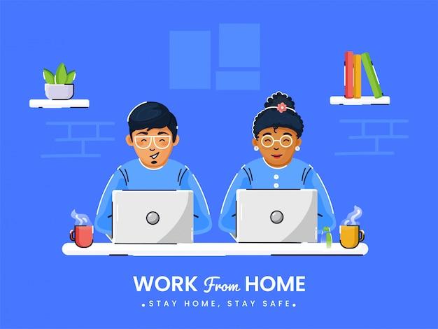 Trabajando desde casa en cuarentena. ilustraciones del concepto de trabajo en casa. gente en casa. Vector Premium