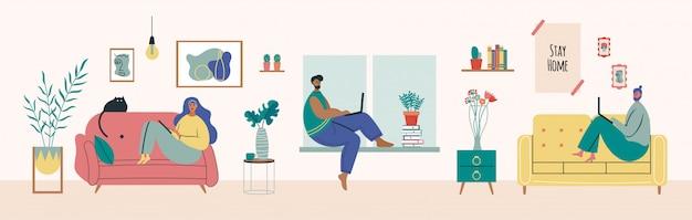 Trabajando en casa, espacio de coworking, ilustración del concepto. joven y mujer independiente trabajando en la computadora portátil. la gente se queda en casa en cuarentena. estilo plano Vector Premium