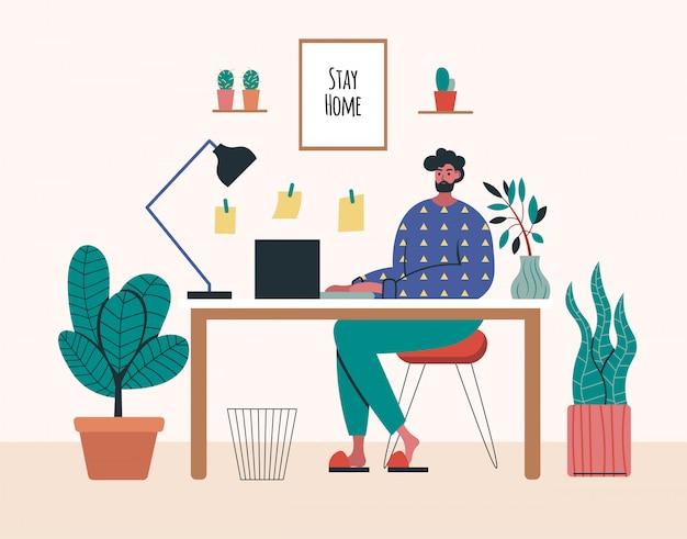 Trabajando en casa, espacio de coworking, ilustración del concepto. jóvenes autónomos que trabajan en computadoras portátiles y computadoras en casa. personas en casa en cuarentena. ilustración de estilo plano Vector Premium