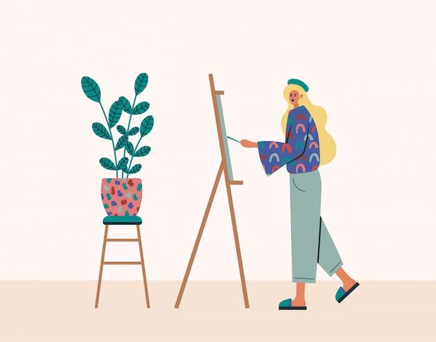 Trabajando en casa, espacio de coworking, ilustración del concepto. trabajadores independientes de la mujer joven que trabajan, dibujan en un caballete en casa. personas en casa en cuarentena. ilustración de estilo plano Vector Premium