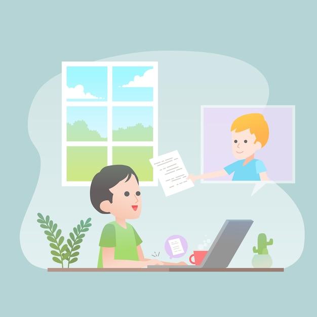 Trabajando juntos desde casa vector gratuito