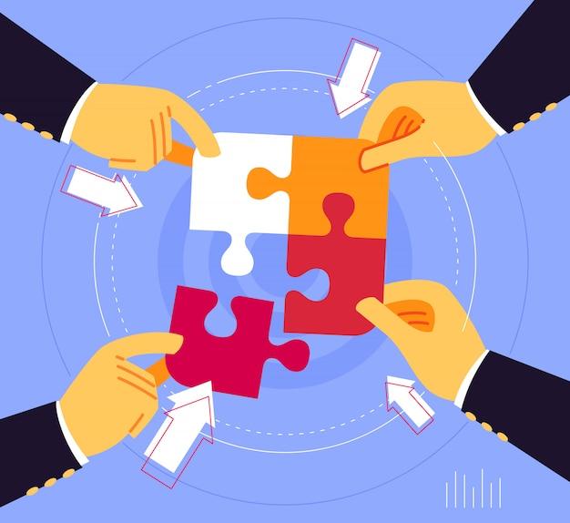 Trabajando juntos para unir la pieza del rompecabezas Vector Premium