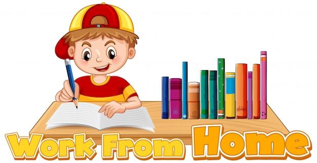 Trabajar desde casa tema con el niño haciendo la tarea vector gratuito