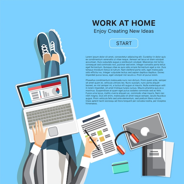 Trabajar en concepto de oficina en casa con hombre Vector Premium