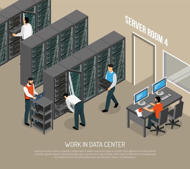 Trabajar en la ilustración isométrica del centro de datos vector gratuito