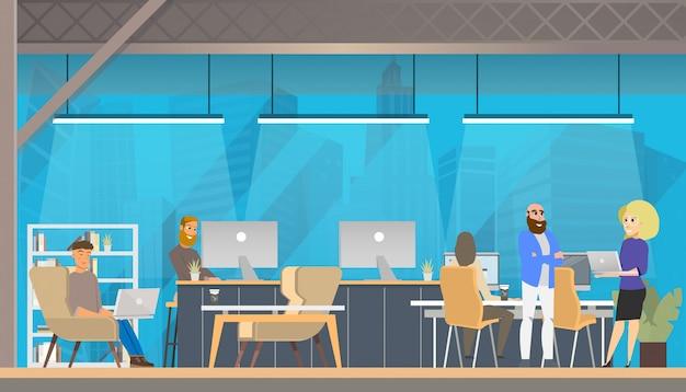 Trabajo de carácter, estudio en área de coworking moderno. vector gratuito