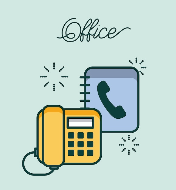 Trabajo de contacto del teléfono de la oficina y la libreta de ...