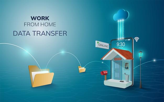 Trabajo digital en línea desde la copia de seguridad de la nube de transferencia de datos en el hogar en el fondo del sitio web móvil del teléfono concepto de distancia social ilustración Vector Premium
