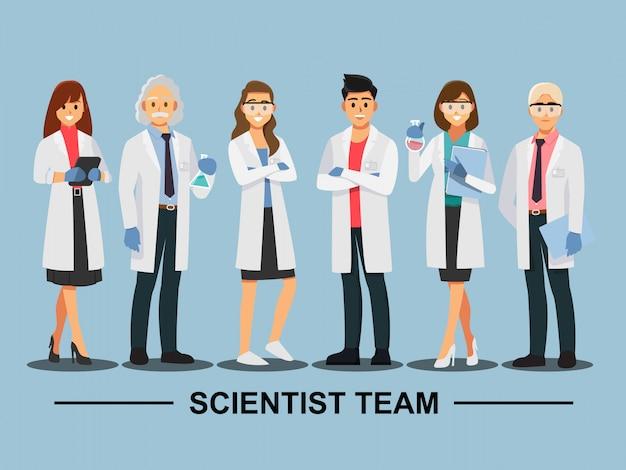 Trabajo en equipo científico, personaje de dibujos animados de ilustración vectorial. Vector Premium