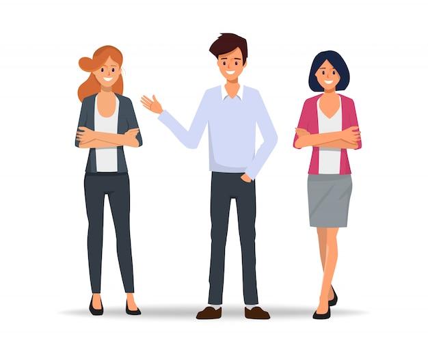 Trabajo en equipo empresarios reunidos para hablar. Vector Premium