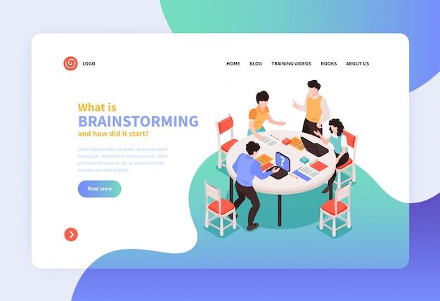 Trabajo en equipo isométrico lluvia de ideas concepto banner sitio web diseño de página de destino con enlaces de texto e imágenes ilustración vectorial vector gratuito