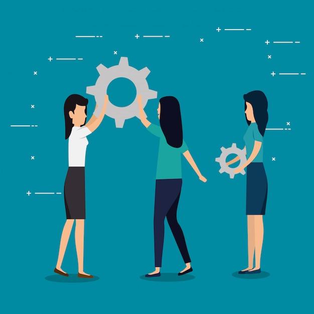 Trabajo en equipo de mujeres de negocios con industria de engranajes | Vector Gratis