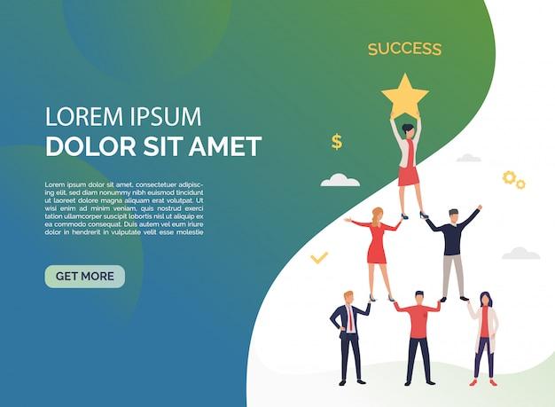 Trabajo en equipo perfecto presentación verde. vector gratuito