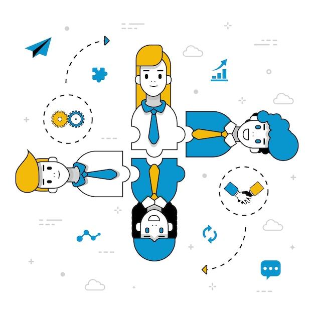 Trabajo en equipo personas personajes gestionando ideas vector gratuito