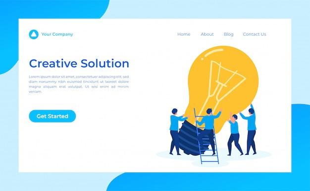Trabajo en equipo solución creativa página de destino Vector Premium