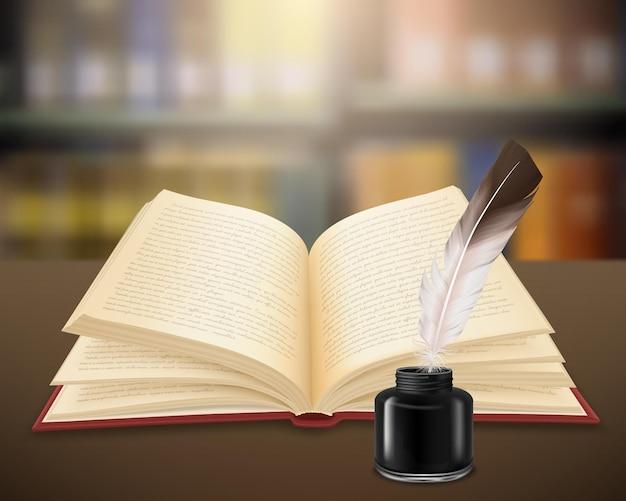 Trabajo literario escrito a mano en páginas de libro abierto con pluma y tintero realistas vector gratuito