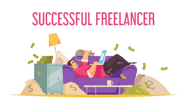 Trabajo remoto composición plana divertida con freelance exitoso en el sofá con laptop bañándose en dinero vector gratuito