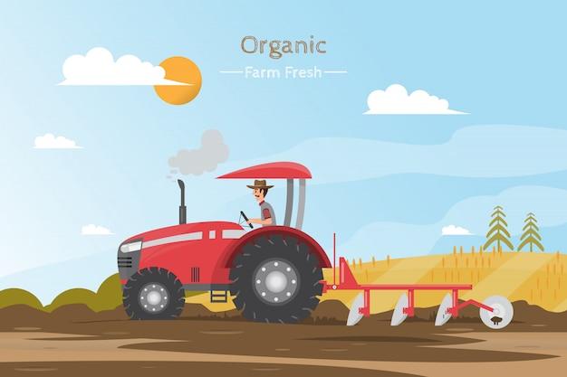Trabajos agrícolas en un campo con tractor. Vector Premium