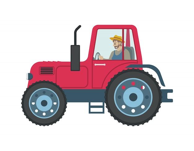 Tractor man driving car Vector Premium