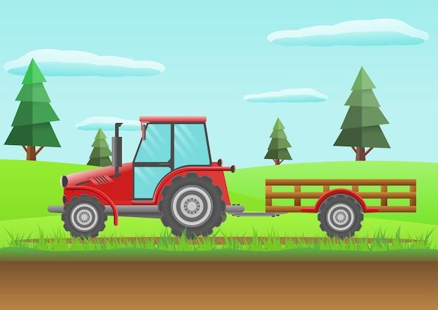 Tractor rojo granja Vector Premium