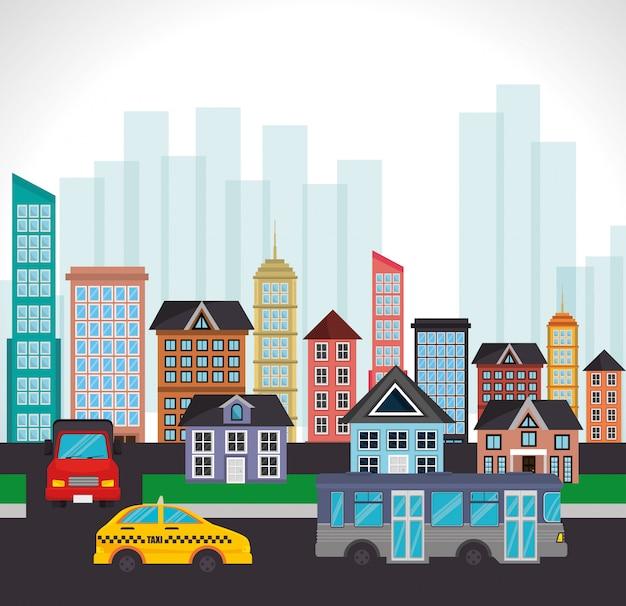 Tráfico ciudad calle edificio paisaje vector gratuito