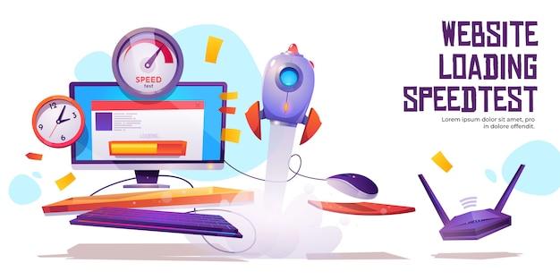 Tráfico de internet de banner de prueba de velocidad de carga del sitio web vector gratuito