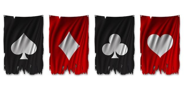 Traje la baraja de cartas en la bandera rasgada. Vector Premium