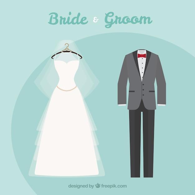 09e38b181 Traje de boda y vestido de novia elegantes | Descargar Vectores Premium