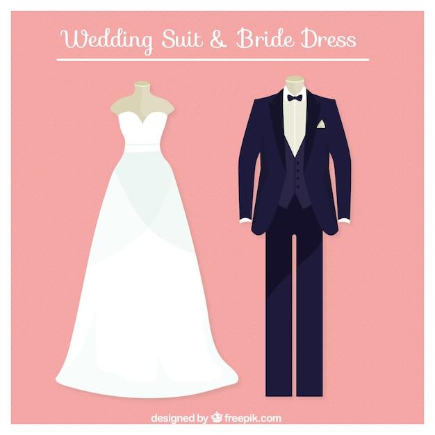 Traje de boda y vestido de novia perfectos | Descargar Vectores gratis