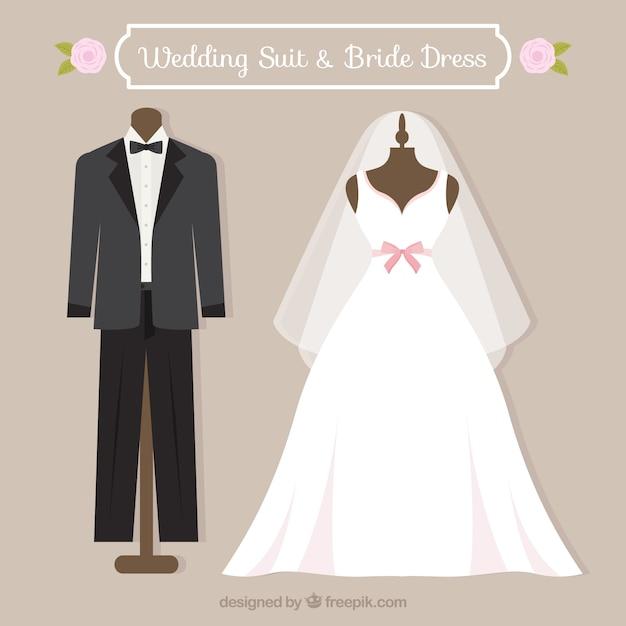 Traje de boda y vestido de novia   Descargar Vectores Premium