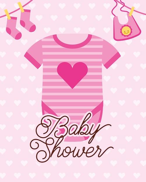 Traje de color rosa ropa ilustración de vector de tarjeta de ducha ...